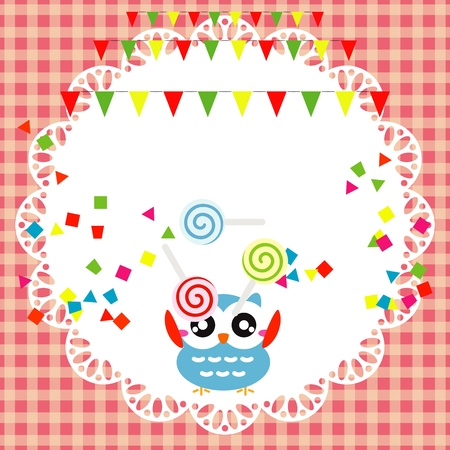 Vector birthday party card with cute owl Stock Vector - 19264610