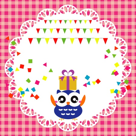 Vector birthday party card with cute owl Stock Vector - 19264602