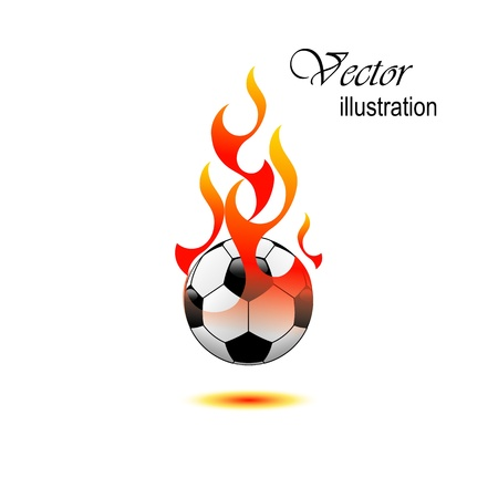 Burning soccer ball on white