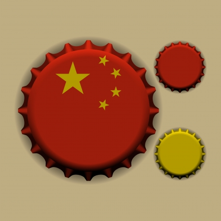 An illustration of a bottle cap with a country sign China  Vector