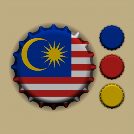 An illustration of a bottle cap with a country sign Malaysia  Vector