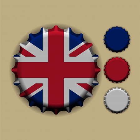 An illustration of a bottle cap with a country sign united kingdom