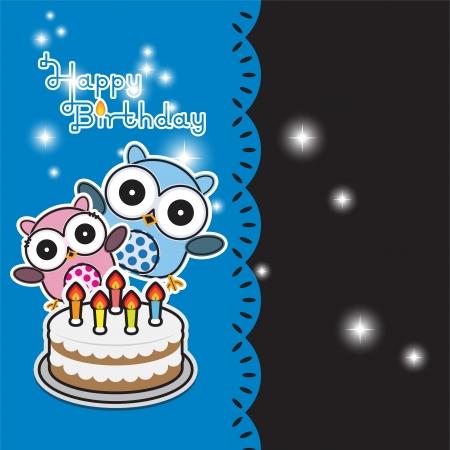 Vector birthday card with funny owls Vector
