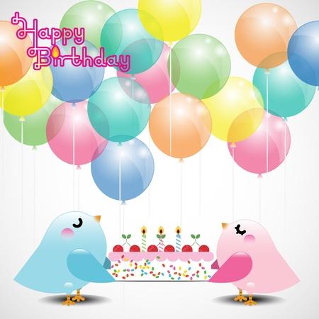 Tarjeta de cumpleaños del vector con los pájaros lindos Foto de archivo - 20667950