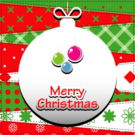 Christmas Greeting Card  Patchwork christmas background with christmas balls