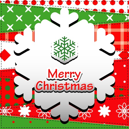 Christmas Greeting Card  Patchwork christmas background with snow flake   Vector