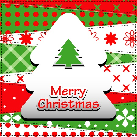 Christmas Greeting Card  Patchwork christmas background with christmas tree  Vector
