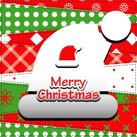 Christmas Greeting Card  Patchwork christmas background with santa hat   Vector