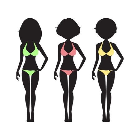 african american woman silhouette: Vector Illustration of swimsuit silhouette women in bikini  Illustration