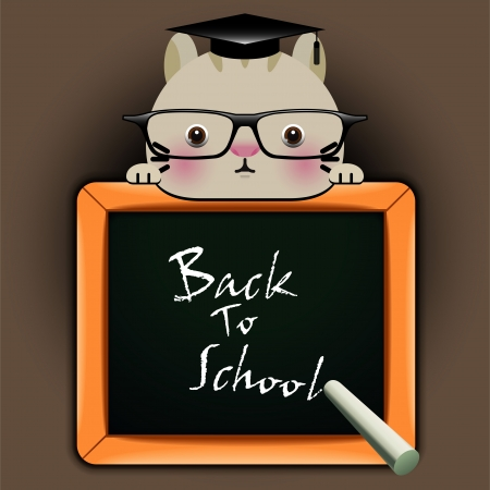 Vector background with funny cat around a blackboard with the words  Back to school