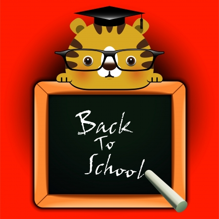 Vector background with funny tiger around a blackboard with the words  Back to school Stock Vector - 21796949