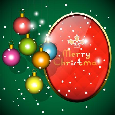 Vector christmas balls and frame