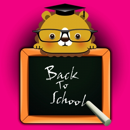 Vector background with funny lion around a blackboard with the words  Back to school