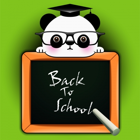 Vector background with funny panda around a blackboard with the words  Back to school    Vector