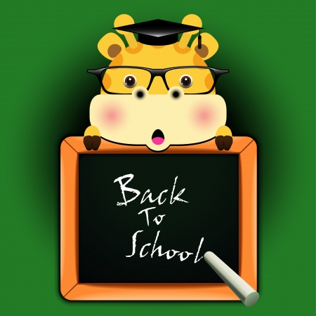 with funny giraffe around a blackboard with the words  Back to school    Vector