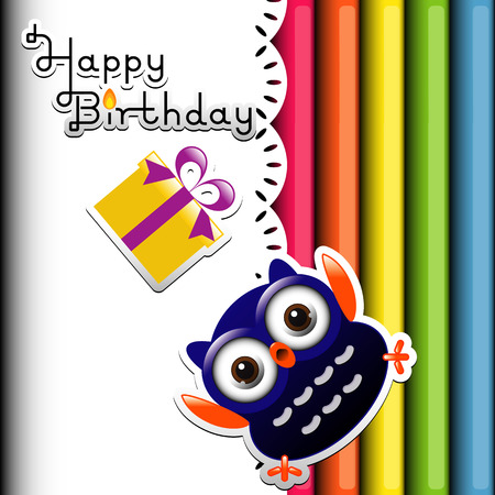 happy owl birthday party invitation card  Vector