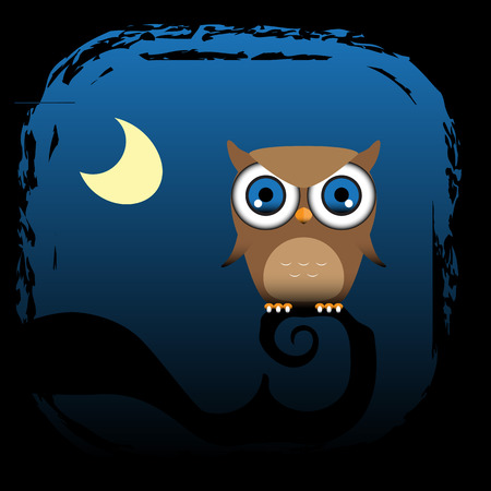 A brown owl sits in a tree with the moon in the background   Vector