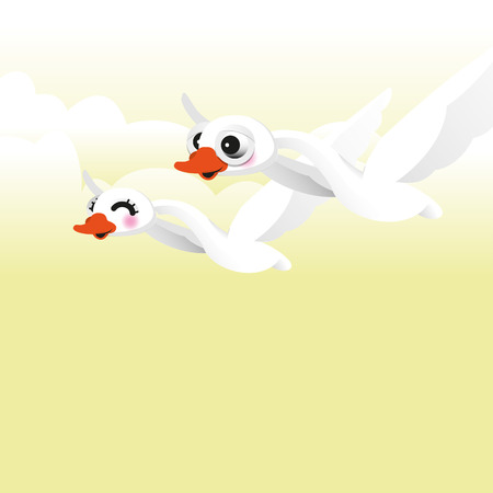 swan flying Vector illustration