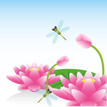Greeting card with lotus flower  Vector