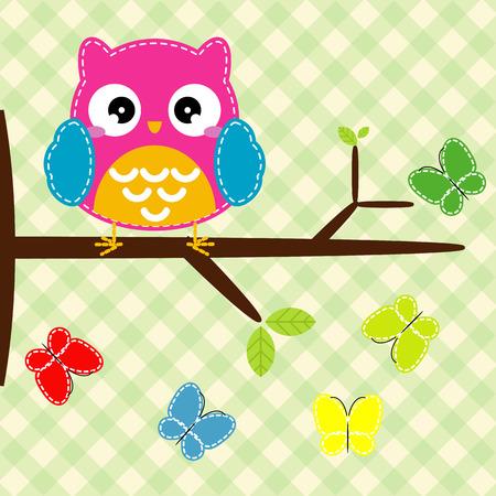Búho en la rama de un árbol con mariposas