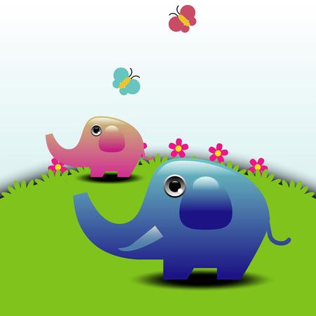 Elephants on Green Field  Vector illustration Illustration