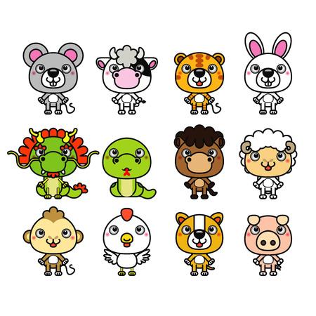 12 Chinese Zodiac animal stickers,cartoon vector illustration  Illustration