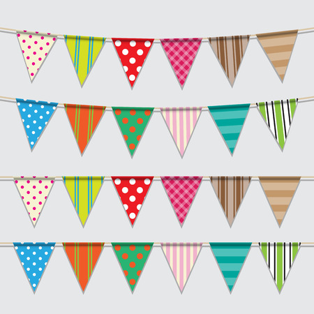 Vector set of colorful and bright bunting  Vector