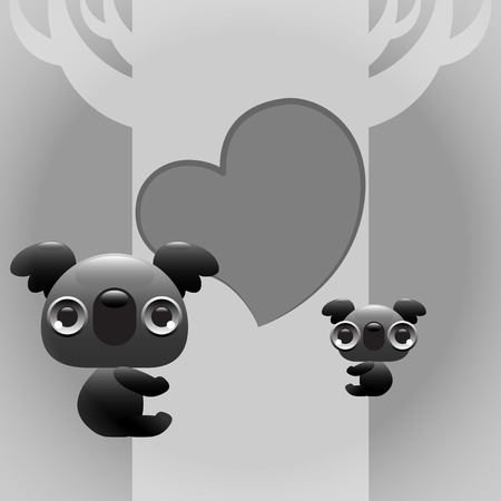 Illustration of cute koala sitting on a tree with a baby  Vector