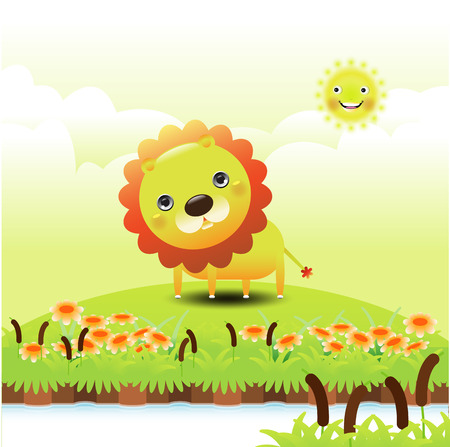 Illustration of a funny lion on green grass  Vector