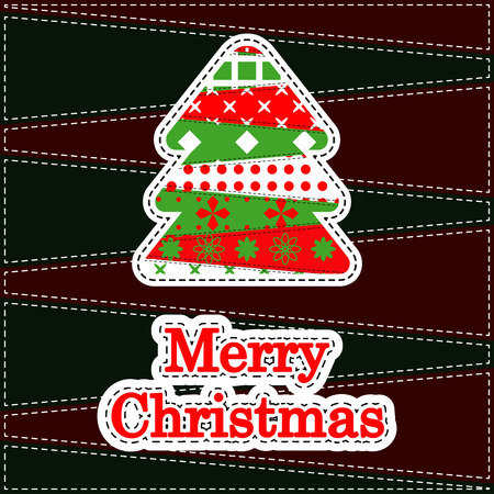 Christmas Greeting Card. Patchwork christmas background with christmas tree