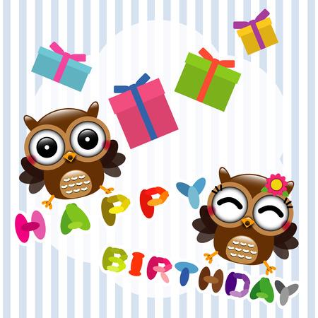 Happy birthday card with cute owls