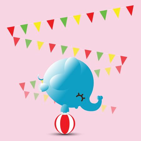 A baby circus elephant balancing on a ball
