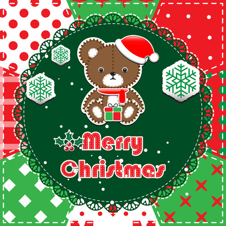 Christmas Greeting Card. Patchwork christmas background with teddy bear