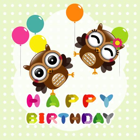 かわいいフクロウと幸せな誕生日カード  イラスト・ベクター素材