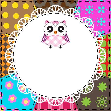 Patchwork background with owl Vector