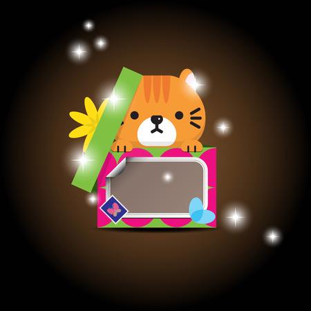 huggable: Cute kitten in a Christmas gift box