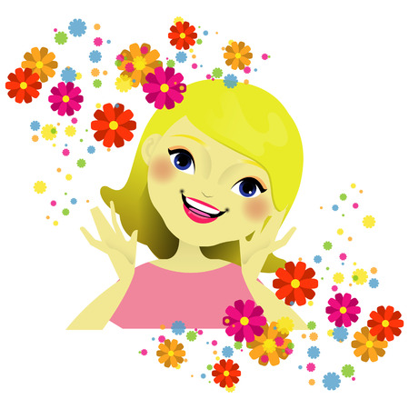 Girls face with flowers