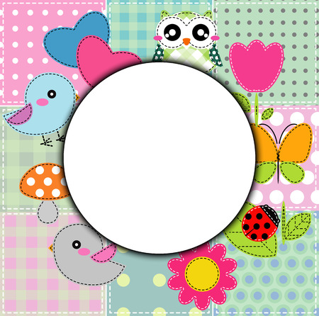Background with heart, flower, mushrooms, butterfly and birds Vector