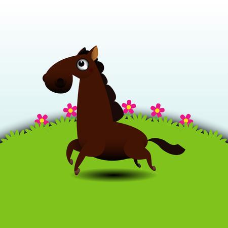 Illustration of a horse running in grassland Vector