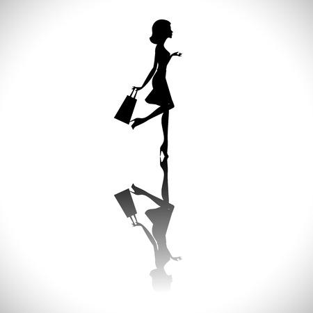 siluetas mujeres: Vector de la moda chica de compras silueta