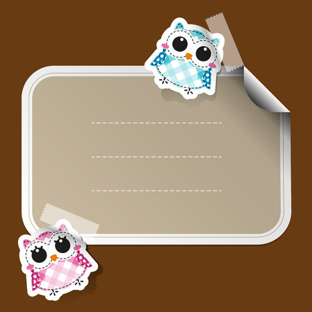 Cartoon owls sticker with place for text Vector
