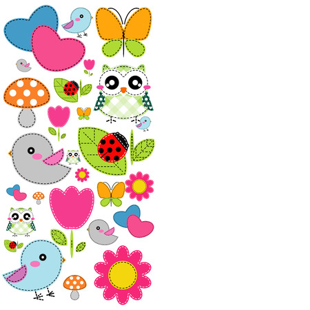 cartoon umbrella: Background with heart, flower, mushrooms, butterfly and birds