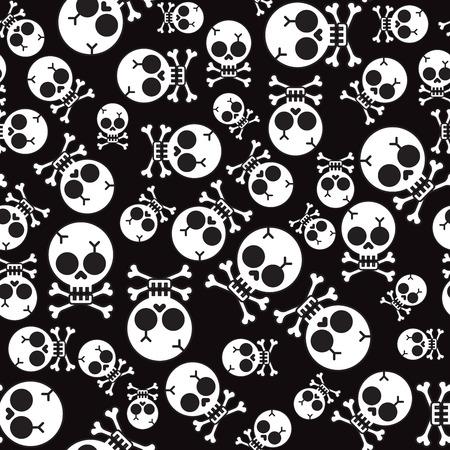 glum: Vector seamless pattern with skulls and bones black background