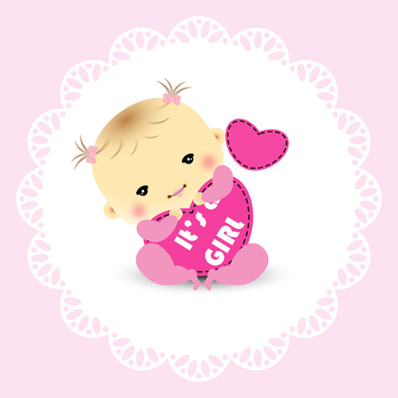 baby announcement card: Baby girl announcement card Illustration
