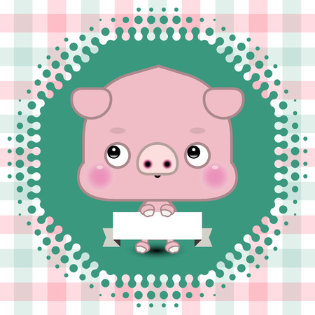 oink: Cartoon cute pig holding a banner with copy space
