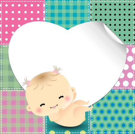 Patchwork background with cute baby Illustration
