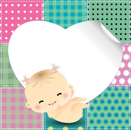 patchwork background: Patchwork background with cute baby Illustration