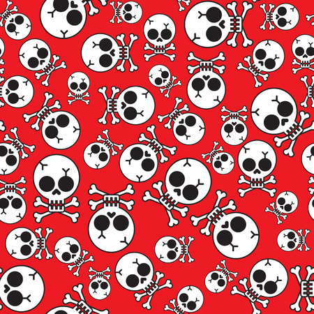 cruel: Vector seamless pattern with skulls and bones black background