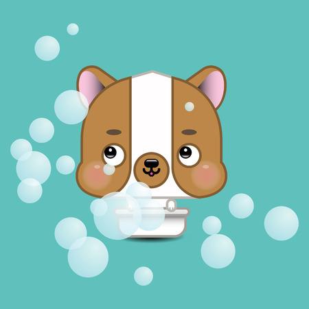 Funny cartoon dog in bathroom Illustration