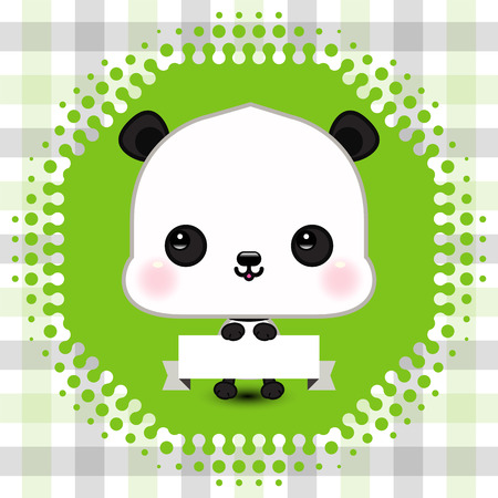Cartoon cute panda holding a banner with copy space
